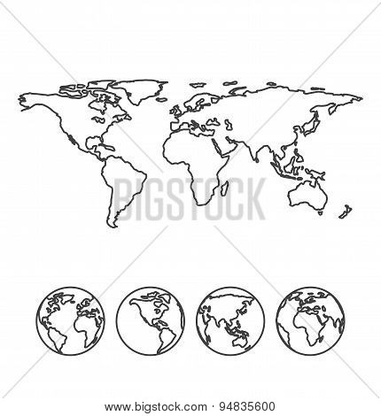 Gray outline map of the world with globe icons