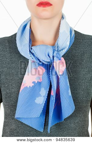 Silk Scarf. Blue Silk Scarf Around Her Neck Isolated On White Background.