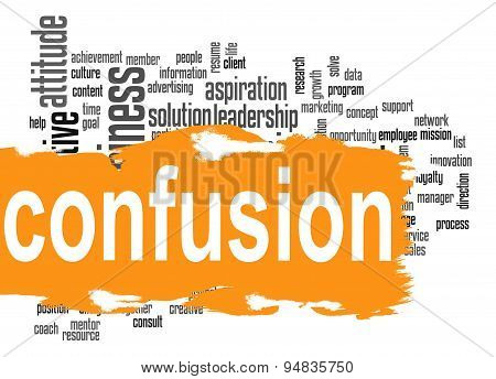 Confusion Word Cloud With Yellow Banner
