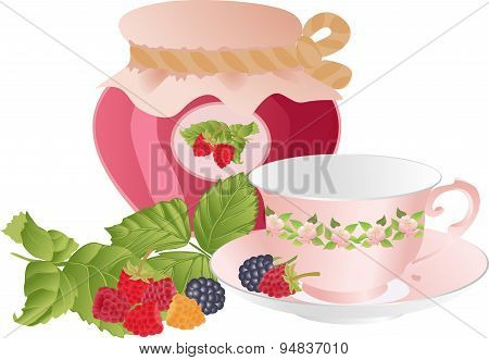 Pink Cup, Raspberries And A Jar Of Jam.