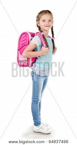 Portrait Of Smiling Schoolgirl With School Bag