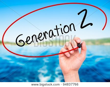 Man Hand writing Generation Z with black marker on visual screen.