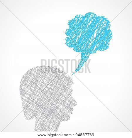 abstract speech bubble with male face stock vector