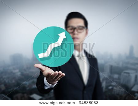 Businessman Hand Holding Graph, New Business In The City Collection, Studio Shot