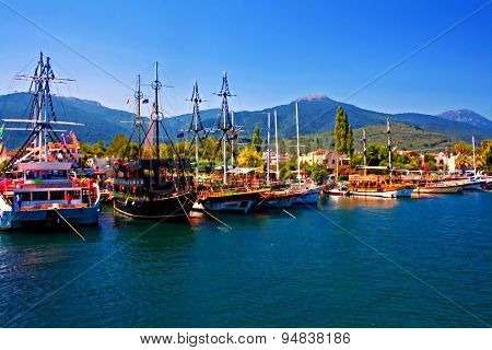 Gulet Cruise Boats In Guzelcamli Harbor Turkey