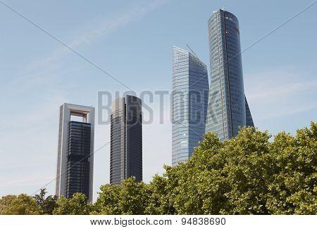 Madrid Skyline Finance Area With Four Towers Buildings. Spain