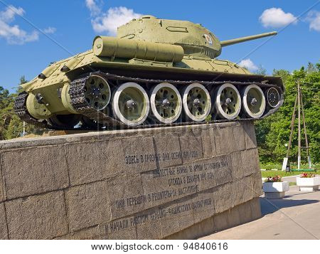 Monument to tank T-34-85