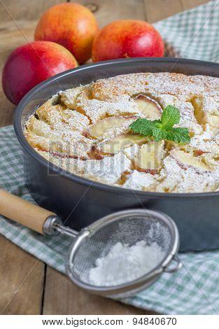 Peach Clafoutis In A Baking Dish