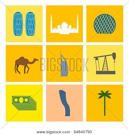 UAE landmark icons set. Camels and oil pumps. Palm trees and skyscrapers. Landmarks in United Arab E