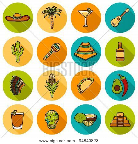 Set of cute hand drawn shadow icons on Mexico theme: sombrero, poncho, tequila, coctails, taco, skul