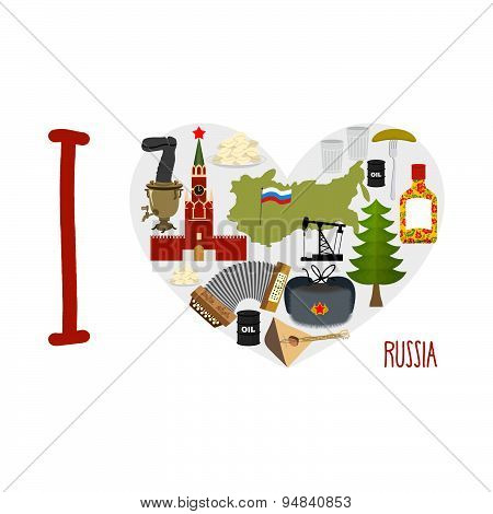I love Russia. Heart of sights of Russian Federation. Russia map and flag bear and an oil rig. Balal