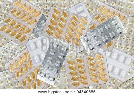 Background Of Many Tablets Blister Packs