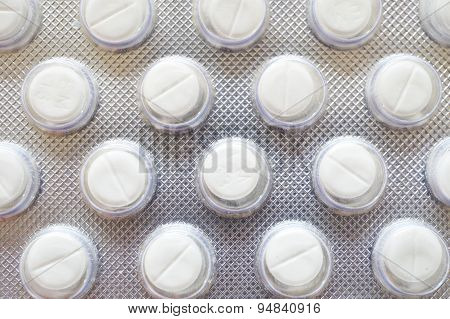 Macro Of White Pills In Blister Pack