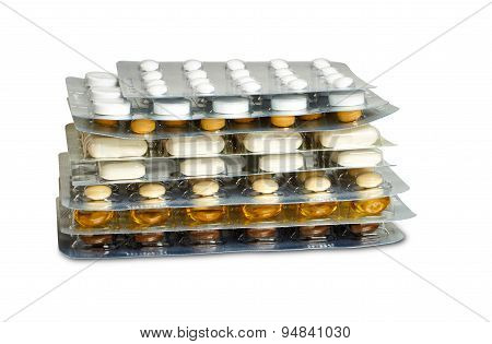 Some Tablets Blister Packs Stacked