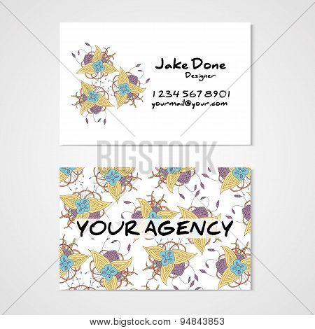 Business card with abstract hamd drawn flower
