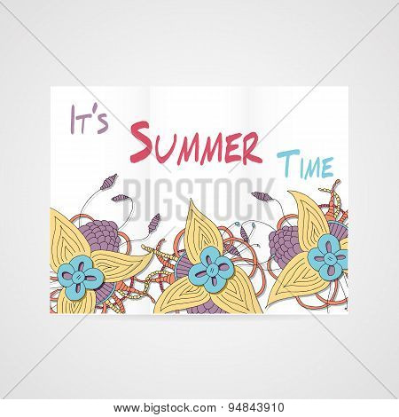 Summers brochure with abstract hamd drawn flower