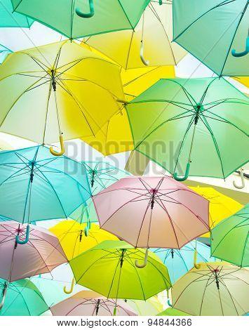 a lot of Colorful umbrellas