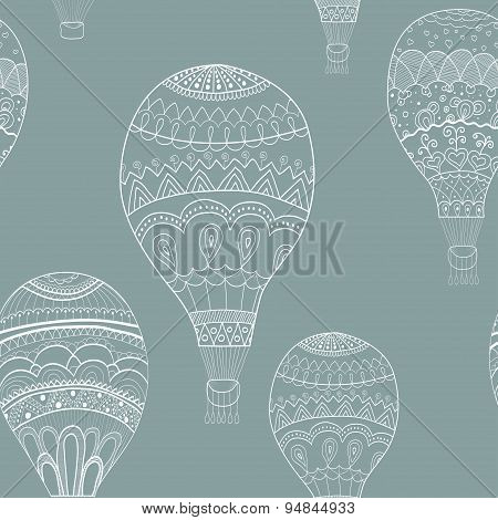 Abstract seamless background with balloons painted by hand. Vect