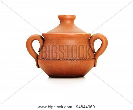 Clay Pot With Cover Isolated On White.