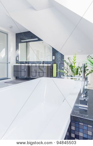 Contrastive Tiles In White Bathroom