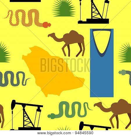 Symbols of Saudi Arabia seamless pattern. Desert and oil pumps, snakes, camels, and cacti. Kingdom t