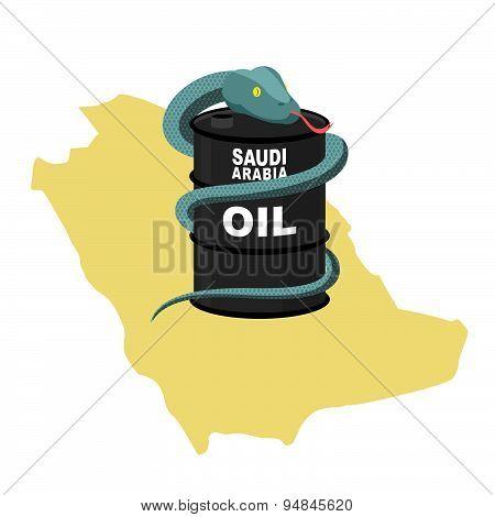 Barrel oil in Saudi Arabia map background. Snake around  barrel. Vector illustration. Reptile in des