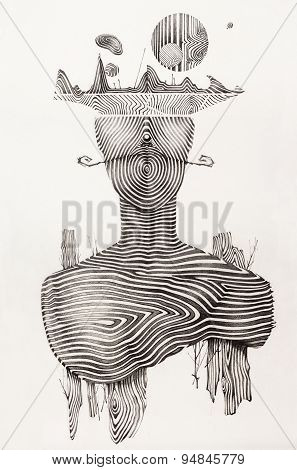Surreal Hand Drawing, Portrait Decorative Artwork