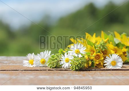 Bouquet Of Wild Flowers On A Wooden Table. The Background For The Text.