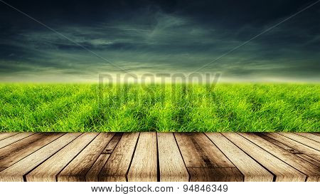 Wood Textured Backgrounds In A Room Interior On Green Grass