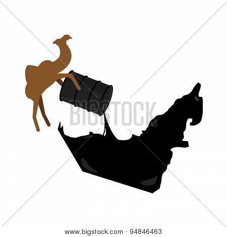 United Arab Emirates map. Camel pours oil from  barrel to UAE  map. Vector illustration