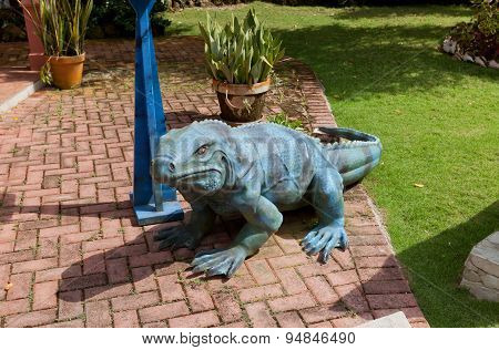 Sculpture Of Blue Iguana In Qe Ii Botanic Park On Grand Cayman Island