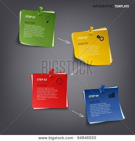 Info Graphic With Colored Note Paper Template