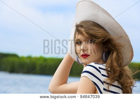 Summer Girl , Elegant With White Hat