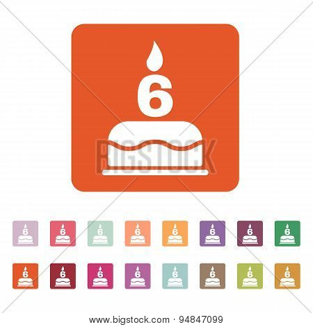 The Birthday Cake With Candles In The Form Of Number 6 Icon. Birthday Symbol. Flat