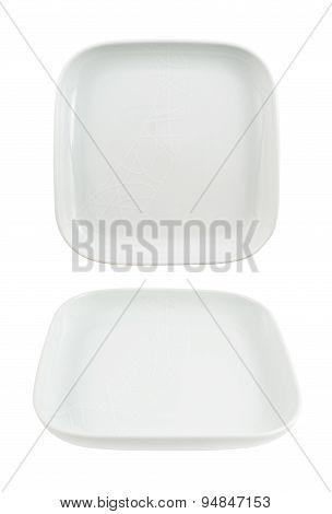 Square shaped empty ceramic plate