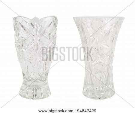 Crystal vase glass vessel isolated