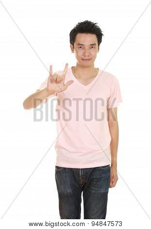 Man In T-shirt With Hand Sign I Love You