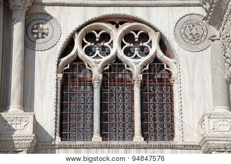 Ornate Windows And Columns Of Basilica Di San Marco In Venice, Italy.