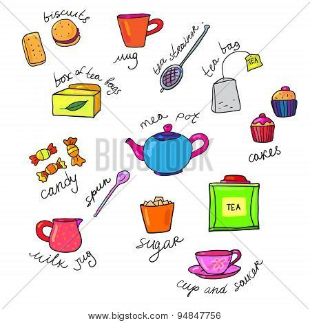 bright colors tea cup and teapot
