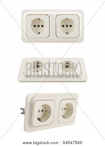 Electrical double jack socket isolated