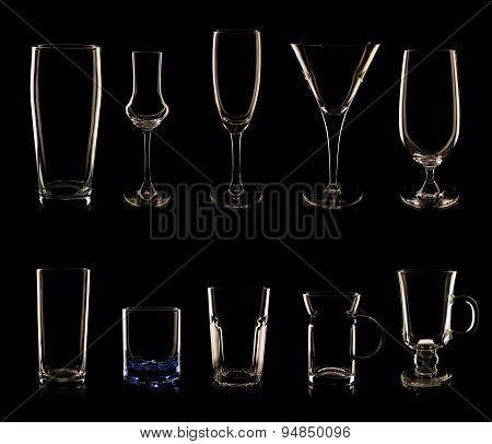 Set of multiple glasses and bottles