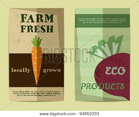 Set of Stylish Farm Fresh flyer, template or brochure design with carrot and beet. Mock up design. B