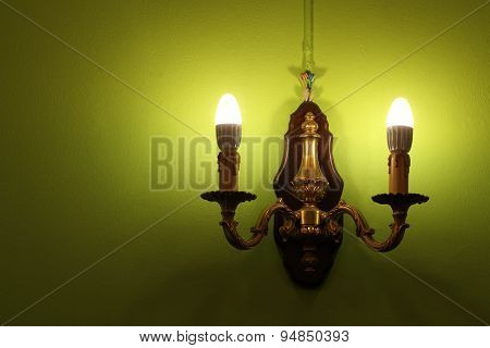 Lighted Classic Lamp On The Wall