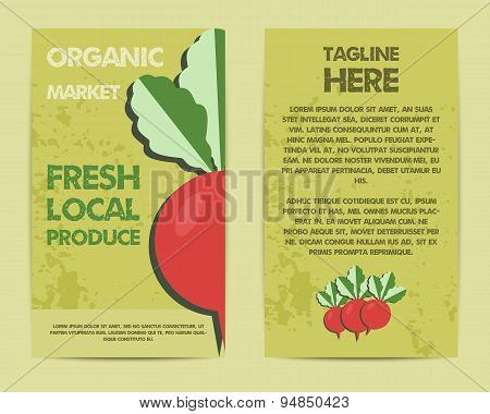 Stylish Farm Fresh flyer, template or brochure design with radish vegetable. Mock up design with sha