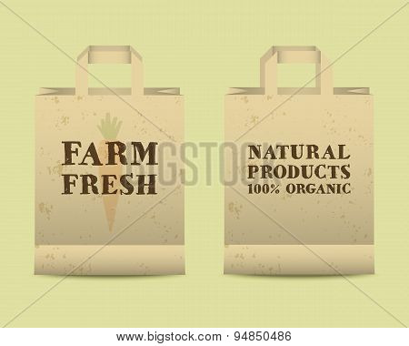Stylish Farm Fresh paper bags template. Mock up design with shadow. Vintage colors. Best for natural
