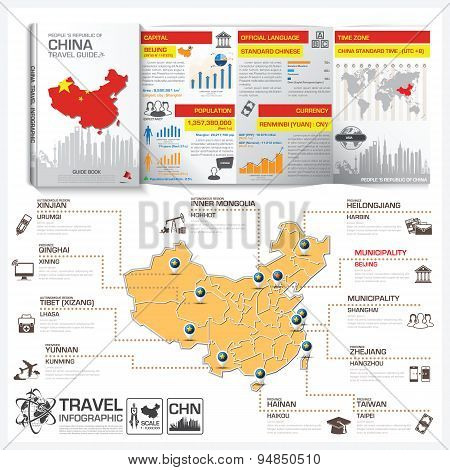 People 's Republic Of China Travel Guide Book Business Infographic With Map