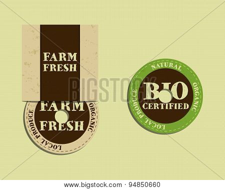 Stylish Farm Fresh cd or dvd templates. Organic, eco. Mock up design. Retro colors. Best for natural
