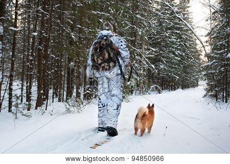Hunter Walking On The Skis