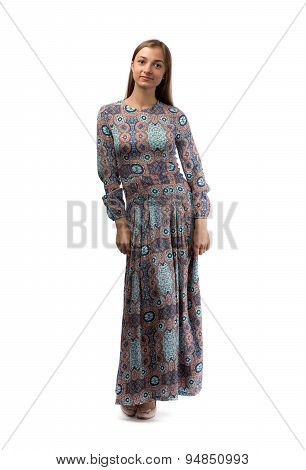 Young Pretty Woman In Elegant Light Fashion Dress, Studio Shot