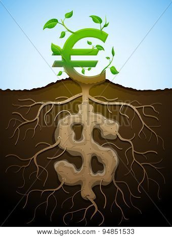 Growing Euro Sign As Plant With Leaves And Dollar Sign As Root